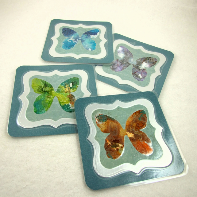 Coasters, Duck Egg Blue Hand Painted Colourful Ink Butterfly, Pack of 4 Cup Mats