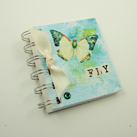 Miniature Notebook, Green & White Butterfly, Emergency Contact, Address Book