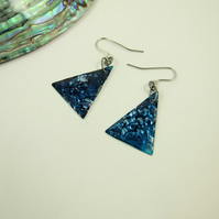 Earrings, Festive Christmas Tree Earrings, Hand Painted, & Embossed, Navy Blue