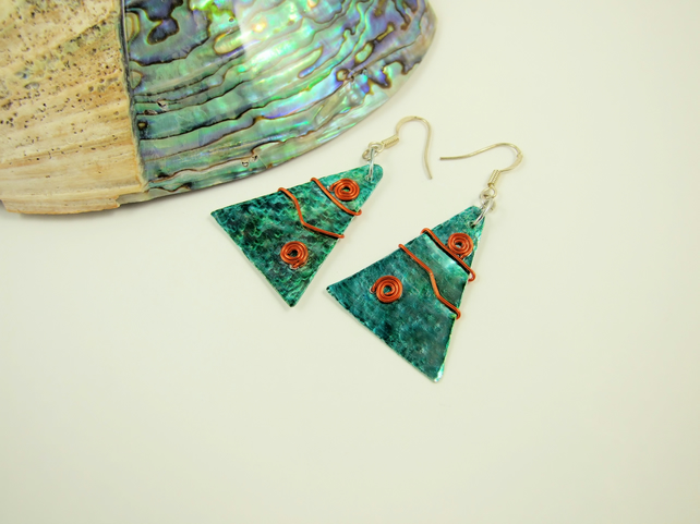 Earrings, Festive Christmas Tree Earrings, Hand Painted, Red & Green