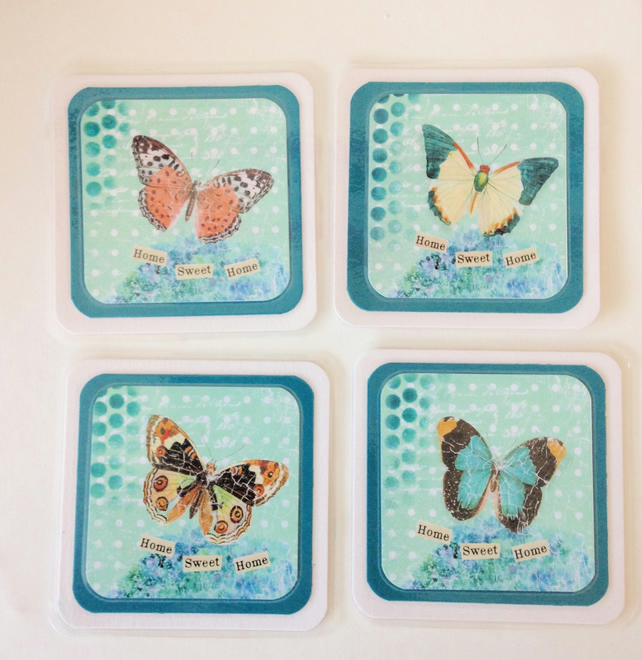 Coasters, Mixed Media Butterflies, Pack of 4 Cup Mats