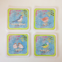 Coasters, Mixed Media Garden Birds, Pack of 4 Cup Mats