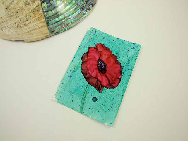 ACEO Miniature Painting, Poppy