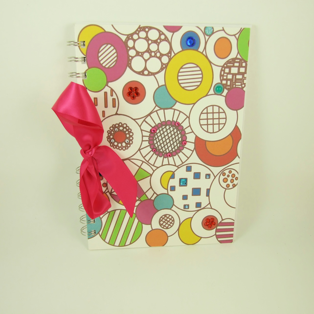 Handmade Journal, Notebook, Memory Book A5, Colourful Abstract Circles & Gems