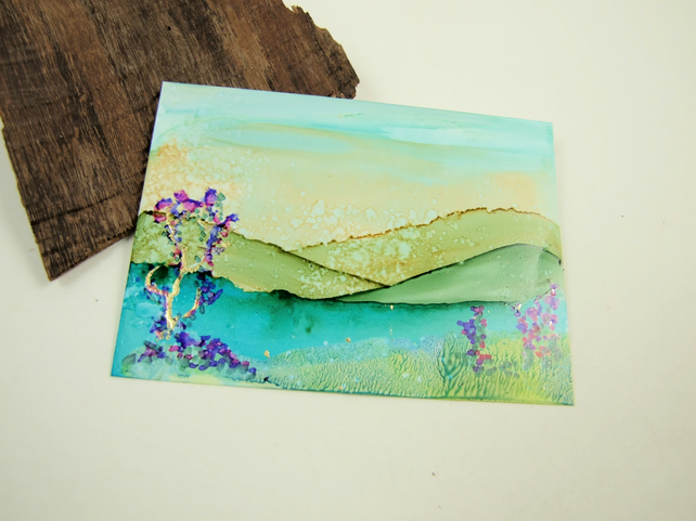 ACEO Miniature Painting, Abstract Landscape Dawn Summer Lake