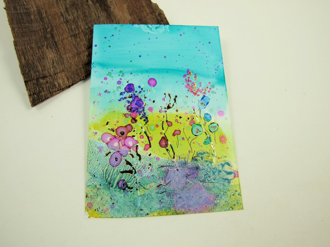 ACEO Miniature Painting, Summer Meadow Pink