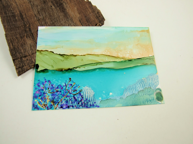 ACEO Miniature Painting, Abstract Landscape Summer Lake