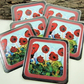 Coasters, Wild Poppies, Meadow Flowers, Pack of 6 laminated Cup Mats