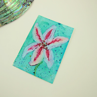 ACEO Miniature Painting, Stargazer Lily