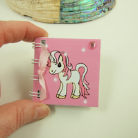 Unicorn Miniature Notebook, Emergency Contact, Address Book, Pink