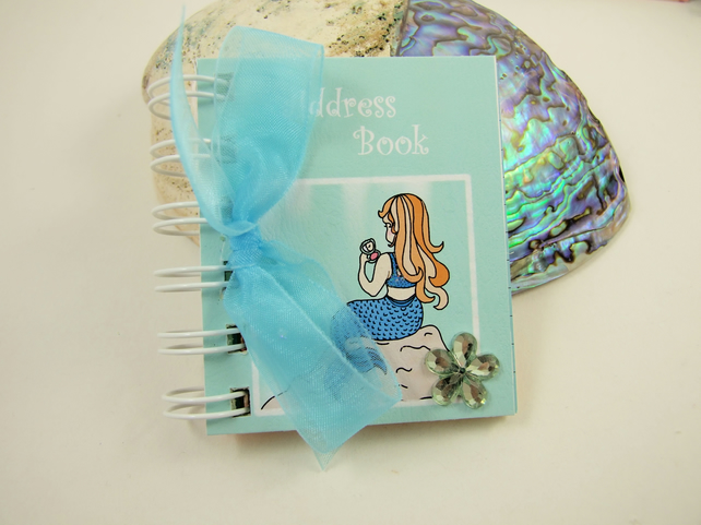Address Book, Miniature Mermaid Book with Rainbow Pages