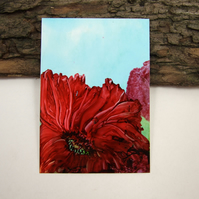 ACEO Miniature Painting, Wild Poppies
