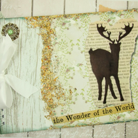 Large A4 Handmade Scrapbook Album or Journal, Vintage Stag