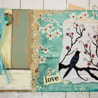 Large A4 Handmade Scrapbook Album or Journal, Vintage Blackbird