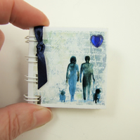 Couple Miniature Notebook, Emergency Contact, Address Book, Blue