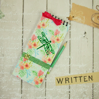 Notebook, Shopping List Book, Green Dragonfly, Notepad & Pencil