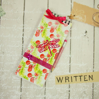Notebook, Shopping List Book, Pink Dragonfly Notepad & Pencil