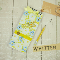 Notebook, Shopping List Book, Gold Dragonfly, Note Pad & Pencil