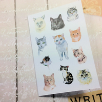 Pack 4 Fine Art Giclee Print Cards, Cats, Note Cards