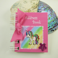 Rainbow Unicorn Mini Address Book, 3 x 2.5 Inches handy bag size