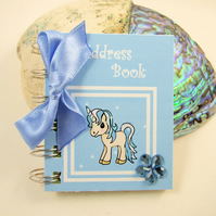Blue Unicorn Mini Address Book, 3 x 2.5 Inches handy bag size