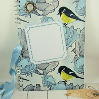 Large A4 Handmade Scrapbook Album or Journal, Bluetit, Can be Personalised