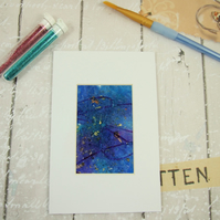Painting, Abstract Ink, Glitter and Metal Leaf on Acetate 6x4 Mounted