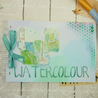 Artists Watercolour Book. 5 x 7 inches, Seaside Design, Handmade Art Book