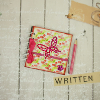Miniature Vintage Cottage Butterfly and Flowers Book & Pencil 4x4 Inches