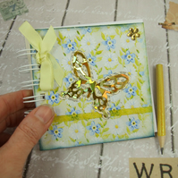Miniature Vintage Lemon & Blue Butterfly and Flowers Book & Pencil 4x4 Inches