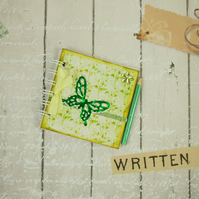 Miniature Vintage Lemon & Green Butterfly and Flowers Book & Pencil 4x4 Inches