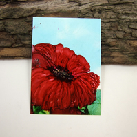 ACEO Miniature Painting, Wild Poppy