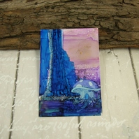 ACEO Miniature Painting, Fantasy, Woodland Fairies, Purple Toadstool Painting