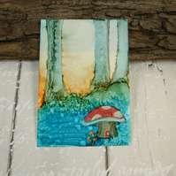 ACEO Miniature Painting, Fantasy, Woodland Fairies, Toadstool Painting