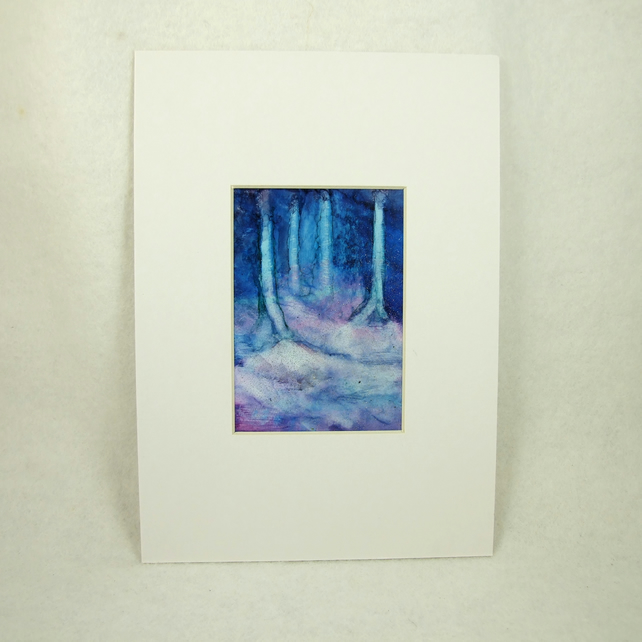 Miniature Painting, Enchanted Woodland, Winter. ACEO, Mounted 7 x 5 Inches