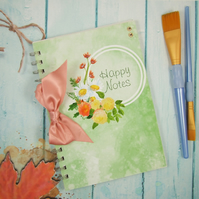 Handmade Happy Book, A5 Notebook, Art Journal, Watercolour Flowers
