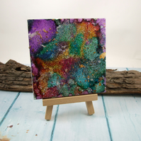 Hand Painted Tile, Abstract Mixed Media Rainbow Sparkle, Sealed with Resin