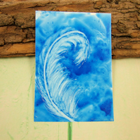 ACEO Miniature Painting, Feather, Blue and White