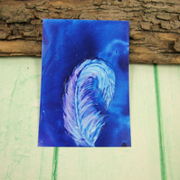 ACEO Miniature Painting, Feather, Midnight Blue and White