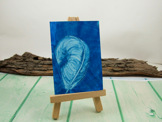 ACEO Miniature Painting, Feather, Teal and White