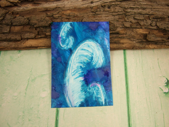 ACEO Miniature Painting, Feathers, Teal and White