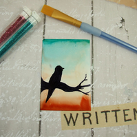 ACEO Miniature Painting, Dawn Breaks, Bird Silhouette