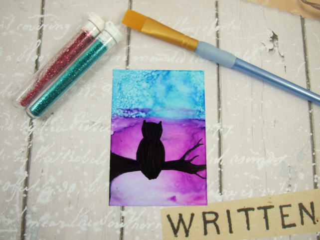 ACEO Miniature Painting, Night Falls, Owl Silhouette