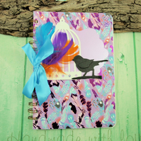 Memory Book, Blue and Purple Feathers and Bird, A5 Journal, Photograph Album,