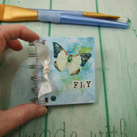 Mini Address Book, Green & White Butterfly, Emergency Contact, Handy Bag Size