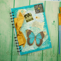 Journal, Handmade Notebook,  A5 Size, Travel Themed, Butterfly Writing Book