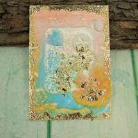 ACEO Miniature Mixed Media Artwork, Textured Collectors Art