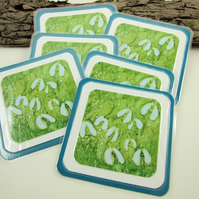 Coasters, Snowdrops print of original artwork.  Pack of 6 laminated Cup Mats