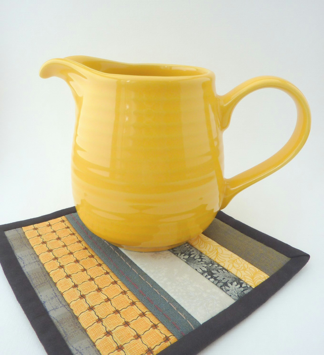 Mini Mug Quilt - Patchwork Coaster in Grey and Yellow Stripes - SALE ITEM