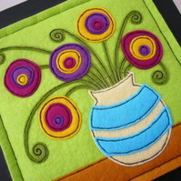 Felt Applique Picture - Flowers In A Vase No.3 - Purple Variation